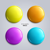 Set of blank, colorful glossy badges or web buttons. Four bright colors, yellow, orange, blue and purple.