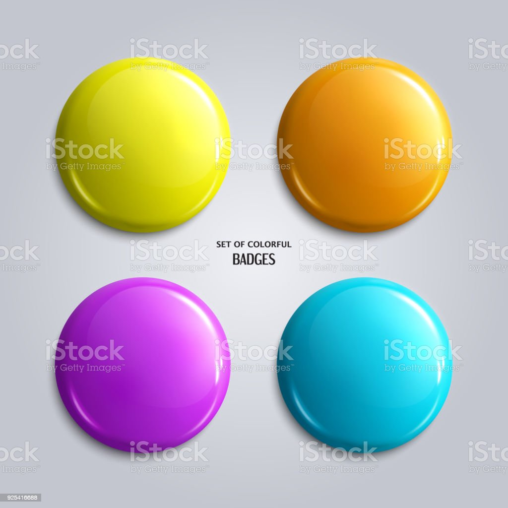 Set of blank, colorful glossy badges or web buttons. Four bright colors, yellow, orange, blue and purple. Vector. vector art illustration