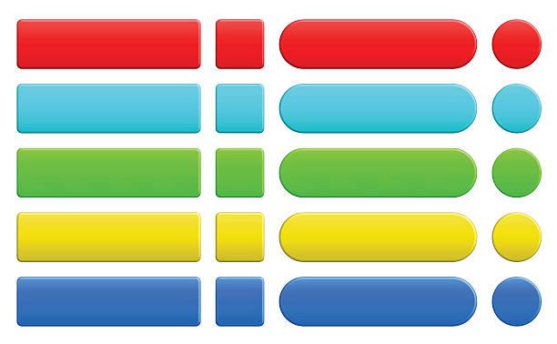 illustrazioni stock, clip art, cartoni animati e icone di tendenza di set di bottoni colorati vuoto internet - tastierino numerico