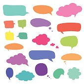 Set of blank colorful speech bubbles and balloons