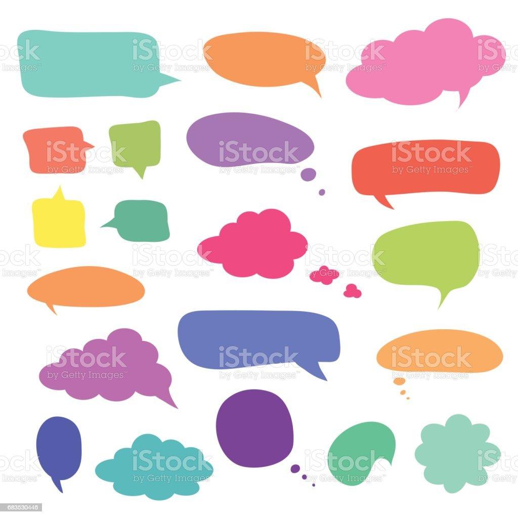 Conjunto de bolhas do discurso coloridos em branco e balões - ilustração de arte em vetor