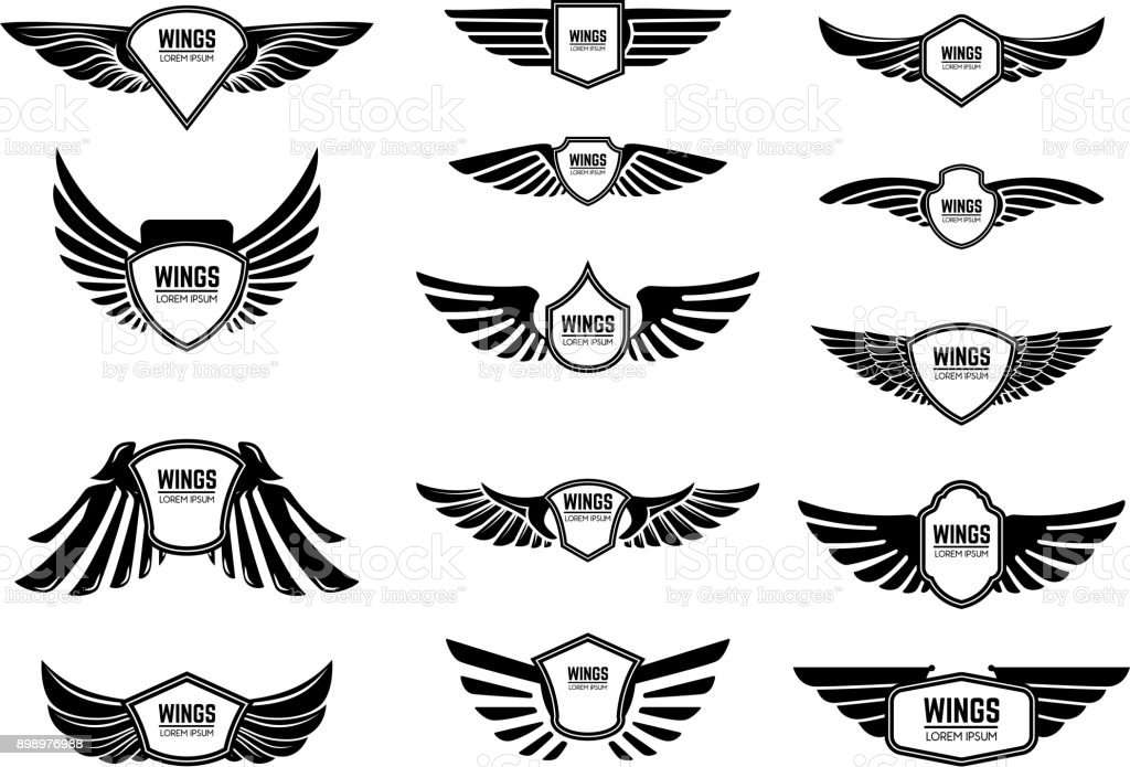 Conjunto de emblemas en blanco con las alas. Elementos de diseño para el emblema, signo, etiqueta. - ilustración de arte vectorial