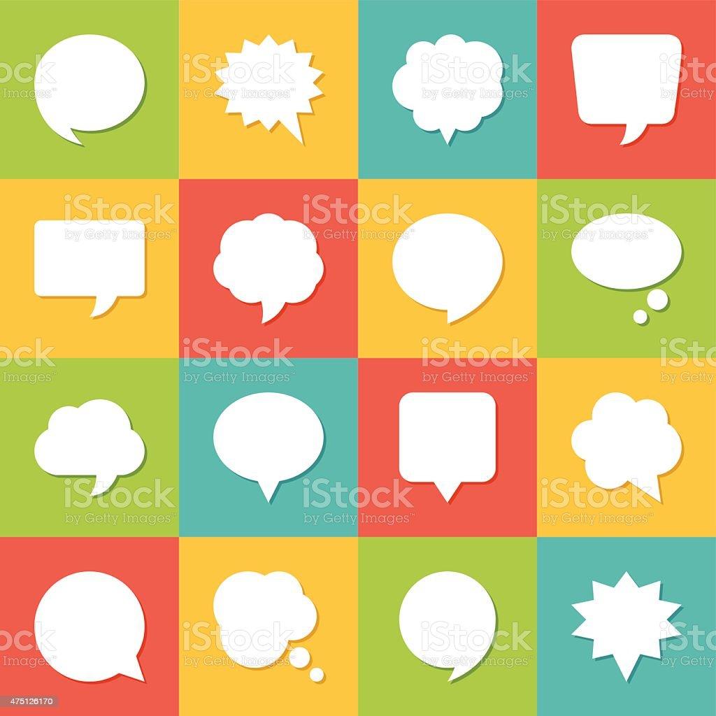 Set of blank empty white speech bubbles and dialog balloons vector art illustration