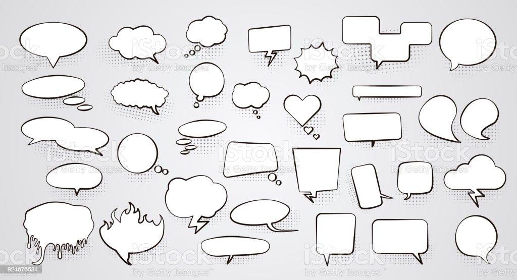 Conjunto de em branco vazio brancas bolhas do discurso com sombra de meio-tom. Ilustração vetorial - ilustração de arte em vetor