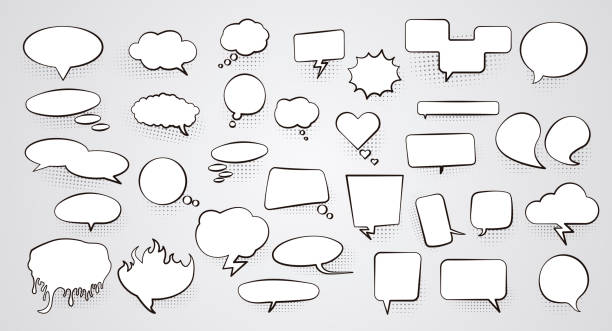 set of blank empty white speech bubbles with halftone shadow. vector illustration - comic book stock illustrations