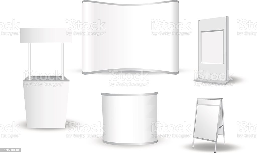Set of blank exhibition stand vector art illustration
