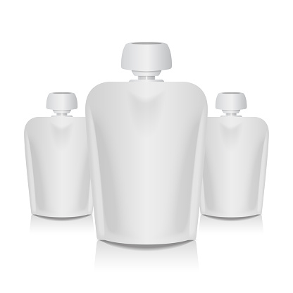 Set of Blank Flexible Pouch With Big Top Cap For Baby Puree. Food Or Drink White Bag Packaging Template