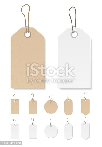 Set of blank gift box tags or sale shopping labels with rope. White paper and brown kraft realistic material. Empty organic style stickers. Flat design isolated vector.