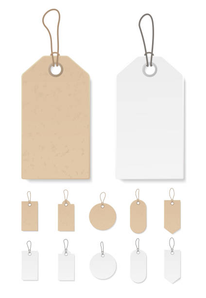 Set of blank gift box tags or sale shopping labels with rope. White paper and brown craft realistic material. Empty organic style stickers. Vector. Set of blank gift box tags or sale shopping labels with rope. White paper and brown kraft realistic material. Empty organic style stickers. Flat design isolated vector. label stock illustrations