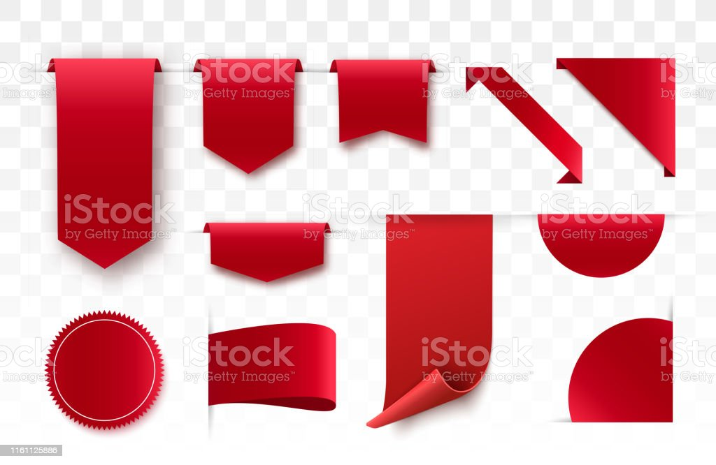 Set of blank labels. Offer tag. Red colored promo label. Vector...