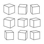 Set of blank outline toy bricks, vector illustration for coloring book