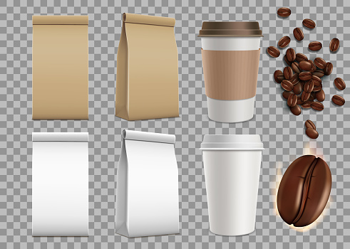 Set of blank package with coffee beans and paper mugs. Isolated mock-up on a transparent background.