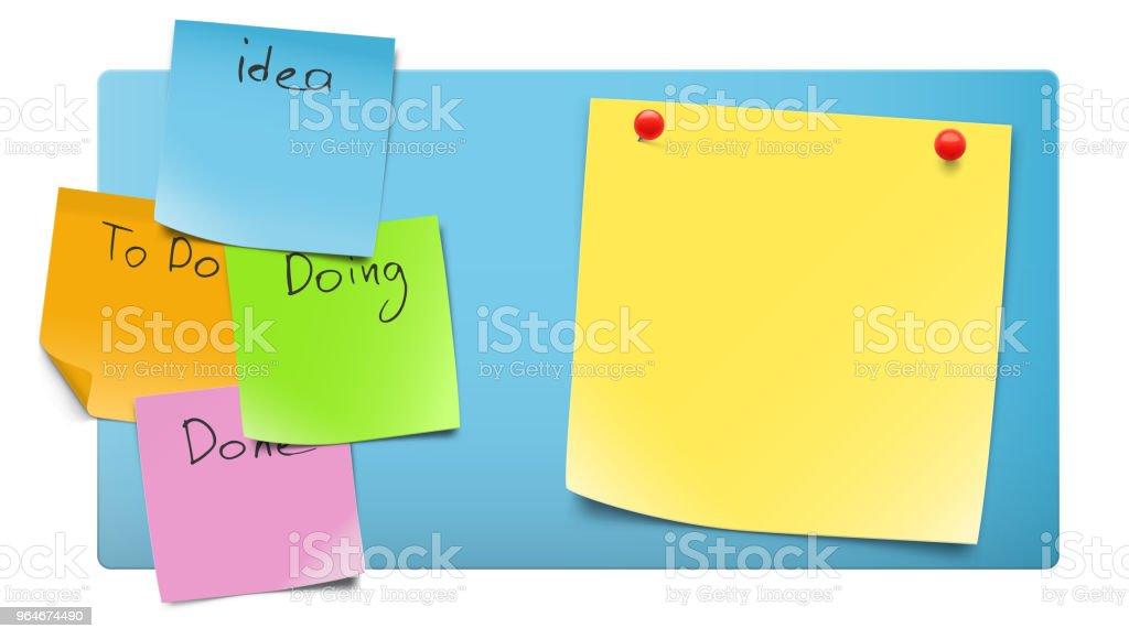 Satz von leeres Papier Notizen über Kanban-Board. – Vektorgrafik