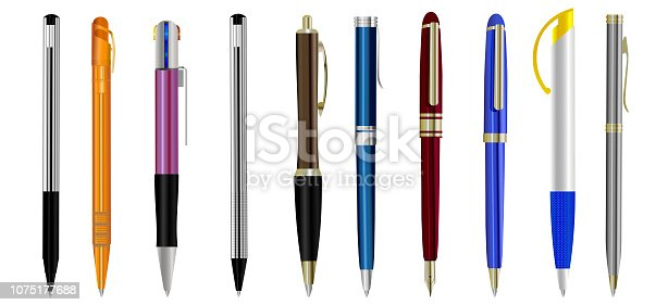 Set of blank pens isolated on white background