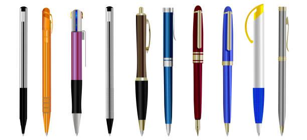 zestaw pustych długopisów izolowanych na białym tle - pióro przyrząd do pisania stock illustrations
