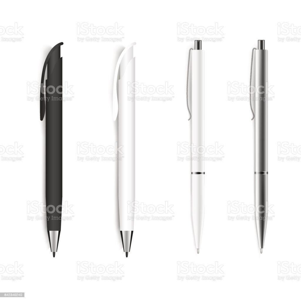 Set of blank pens isolated on white background. Vector. royalty-free set of blank pens isolated on white background vector stock illustration - download image now