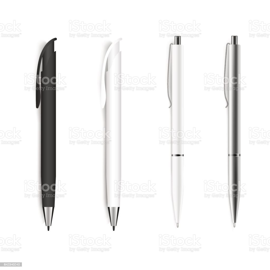 Set of blank pens isolated on white background. Vector. векторная иллюстрация