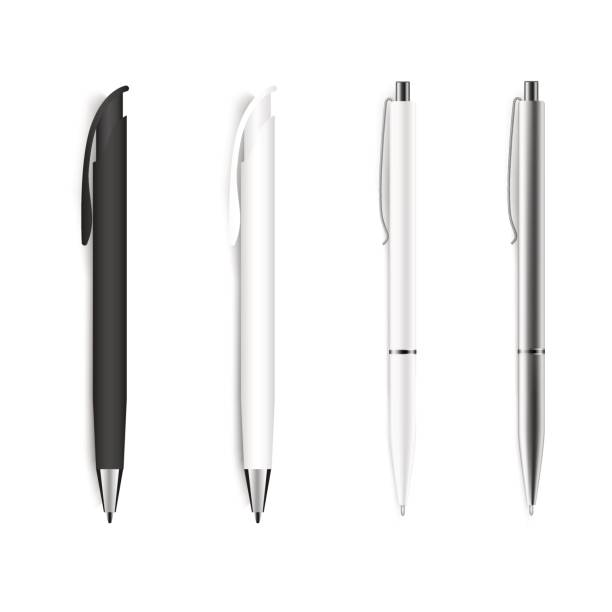 set of blank pens isolated on white background. vector. - pióro przyrząd do pisania stock illustrations