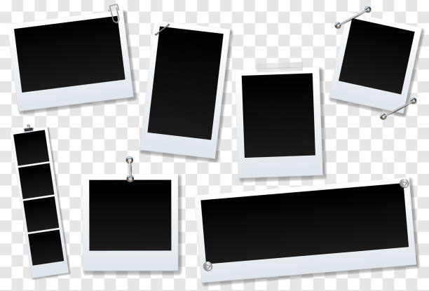 Set of blank photo frame Isolated on transparent background. design for your photography and picture. Vector Illustration Set of blank photo frame Isolated on transparent background. design for your photography and picture. Vector Illustration polaroid frame stock illustrations