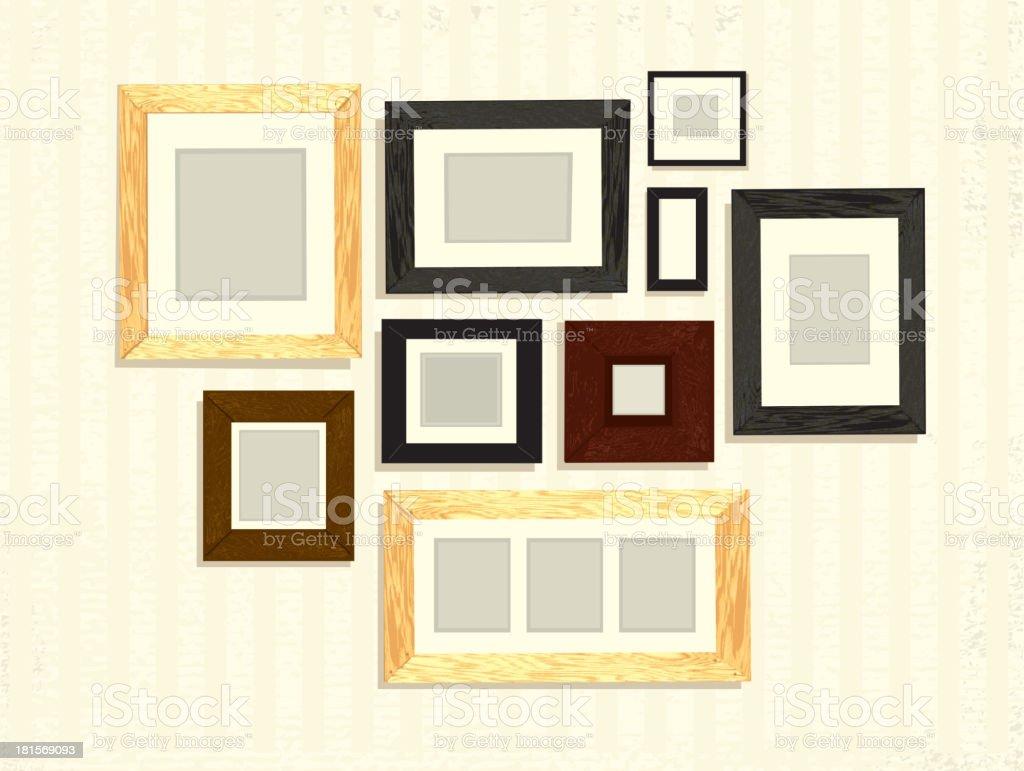 ensemble de cadre photo vide sur mur d coration disposition cliparts vectoriels et plus d. Black Bedroom Furniture Sets. Home Design Ideas