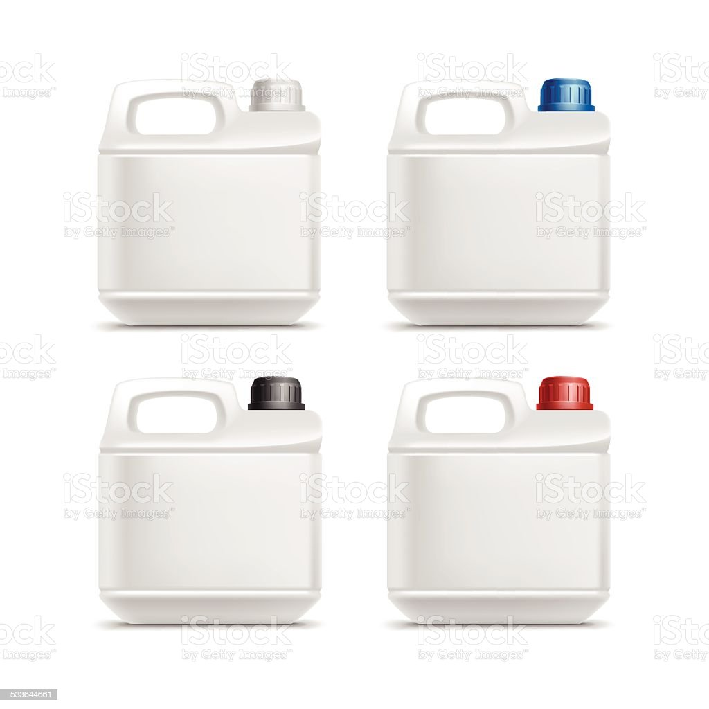 Set of Blank Kunststoff-Liter-Öl Cleanser Waschmittel Abstergent Isoliert – Vektorgrafik