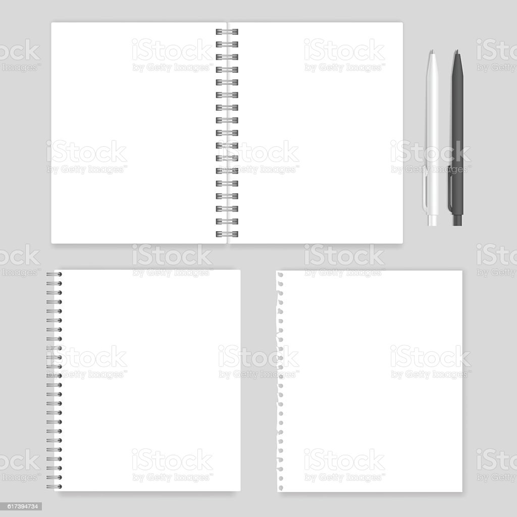 Set of blank realistic spiral notebooks mockup vector art illustration