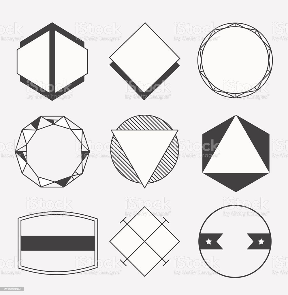 Set Of Blank Retro Vintage Badges Borders Frames And Labels Royalty Free