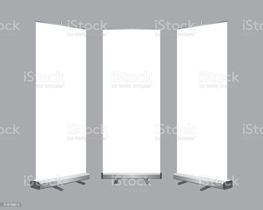 Set of blank roll up display vector art illustration