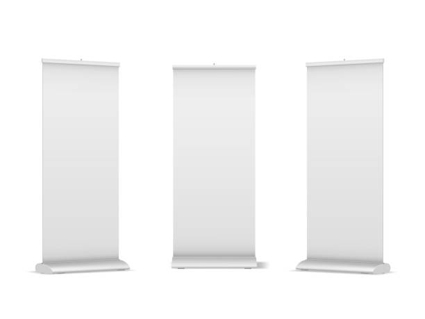 Set of blank roll-up, pop-up or pull-up banner stands vector art illustration