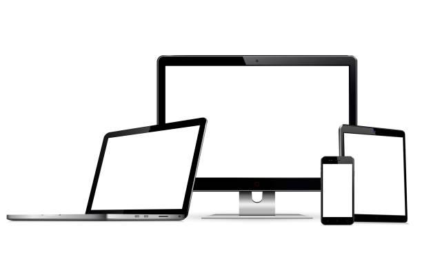 Set mit leeren Bildschirmen mit Computermonitor, Laptop, Tablet und Smartphone – Vektorgrafik