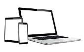 istock Set of blank screens with laptop, tablet, phone 1245120028