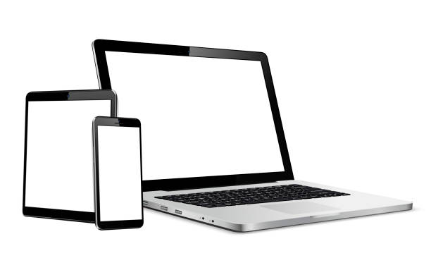 Set of blank screens with laptop, tablet, phone Laptop, tablet, phone mock up. Vector illustration for responsive web design. ipad stock illustrations