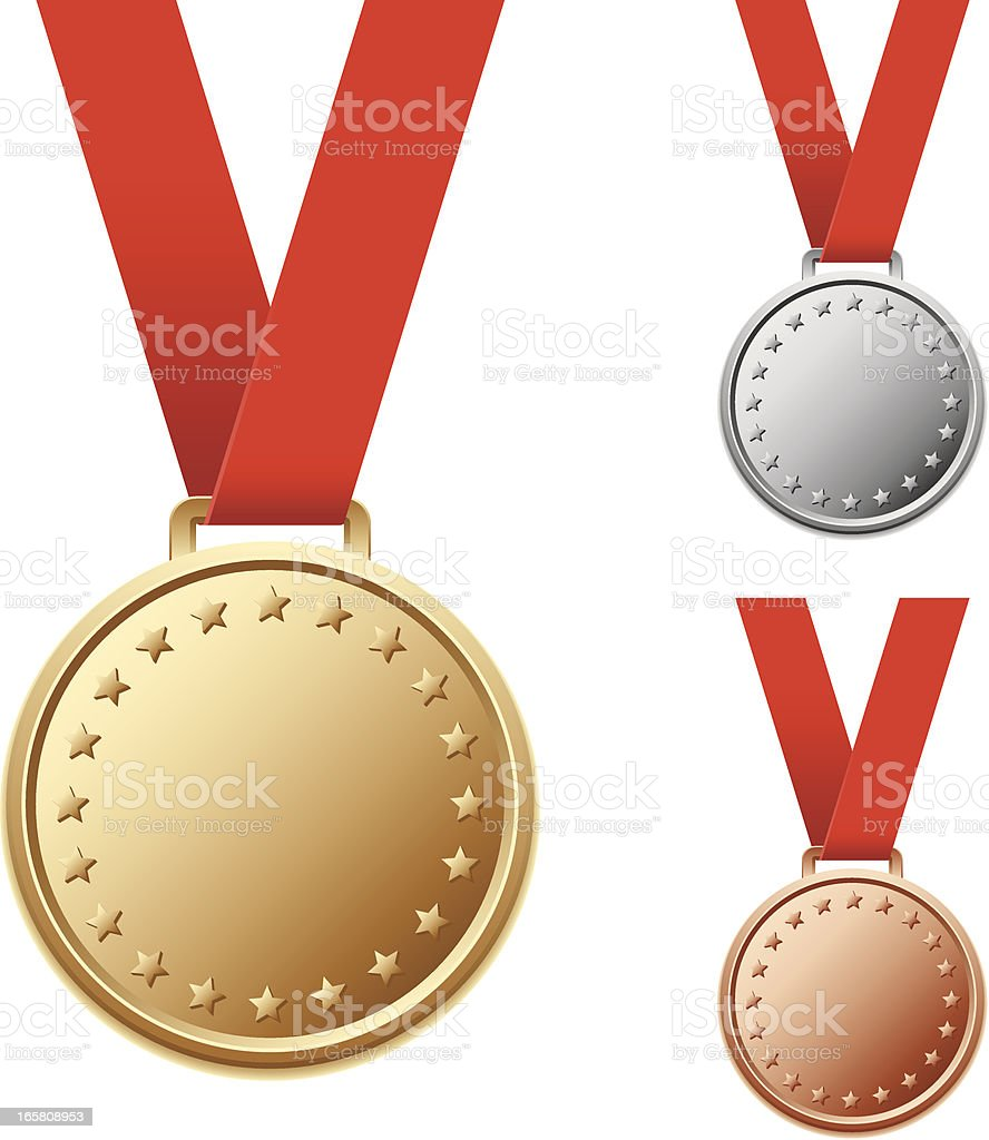Set of blank silver and bronze medals with stars vector art illustration