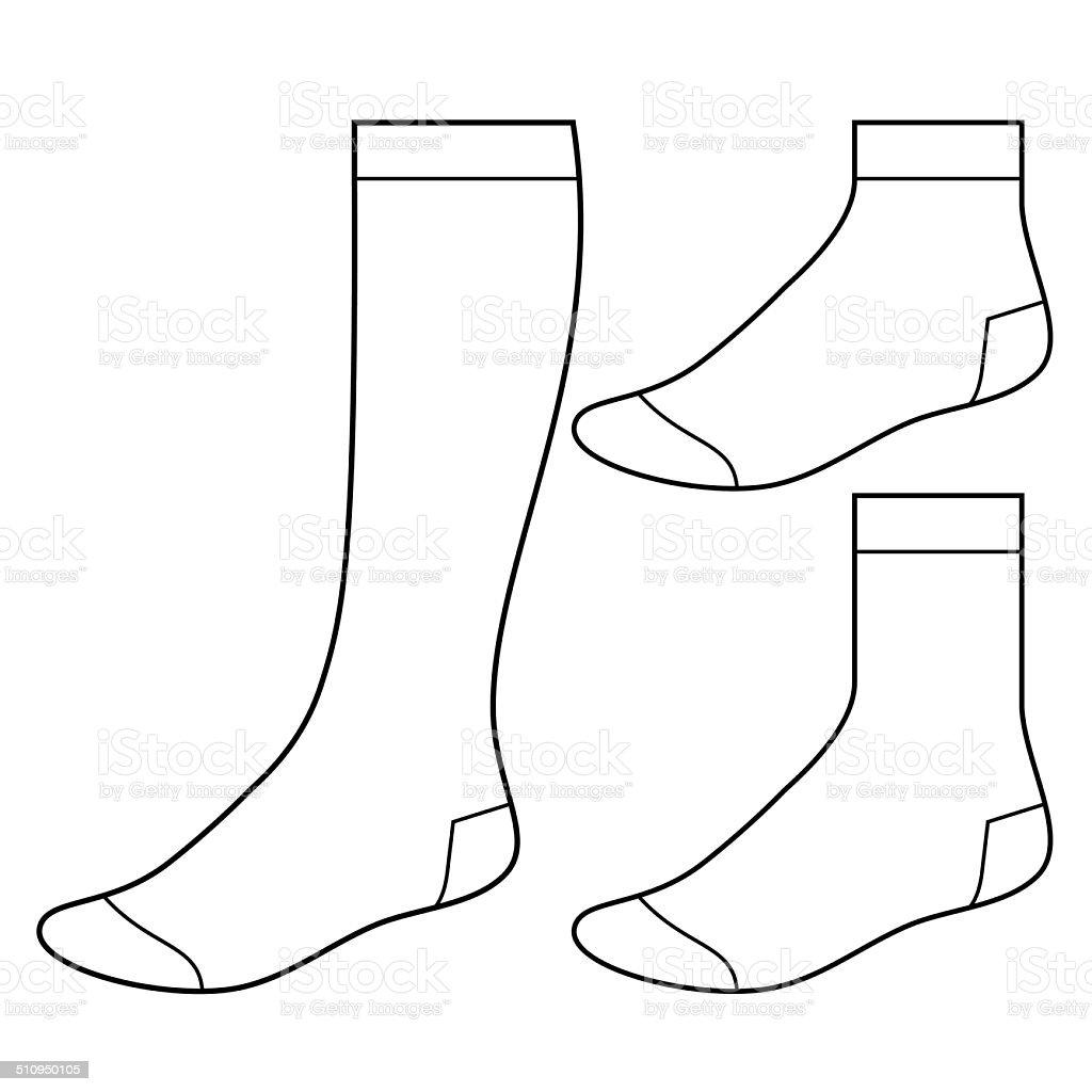 Set of blank socks vector art illustration