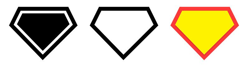 Set of Blank Superhero logo template, isolated on blue background.
