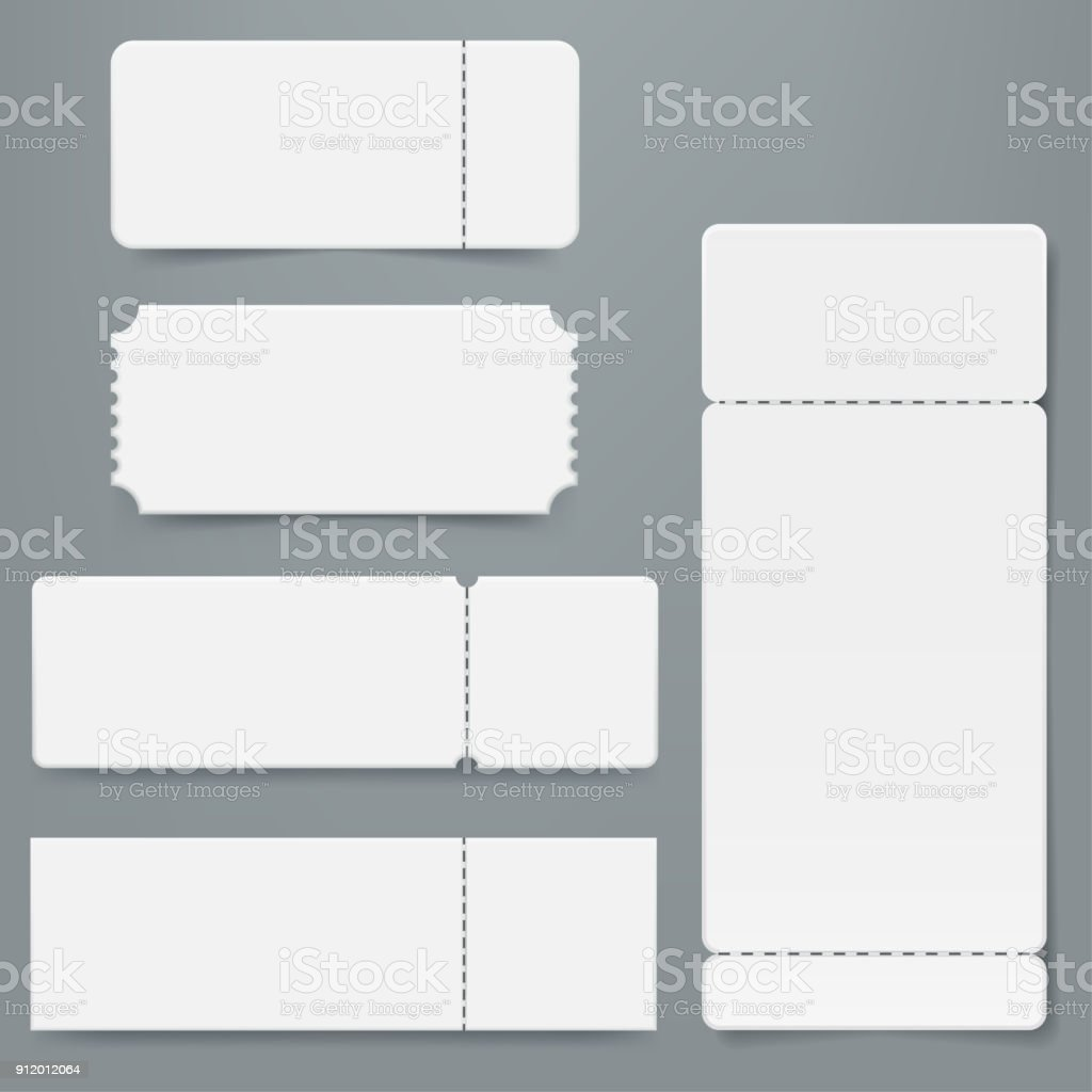 Set of blank ticket mockup template. Realistic White paper coupon isolated on grey background. Cinema, party, circus, festival or concert tickets design. Vector eps 10.