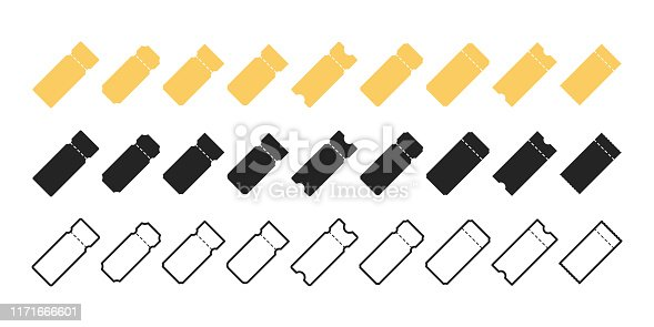 Set of blank Tickets icons. Movie ticket icons. Airplane, train, bus, concert minimalist style. Tickets icon template of different style.