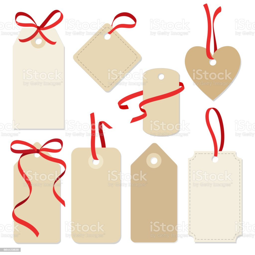 Set Of Blank Vintage Frames Gift Tags Labels With Ribbons Royalty Free