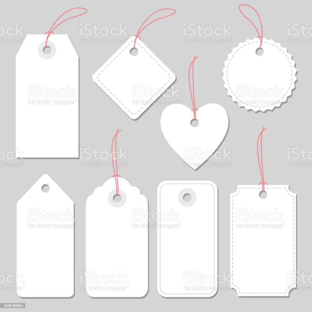 Set of blank vintage frames, tags and labels, isolated vectors vector art illustration