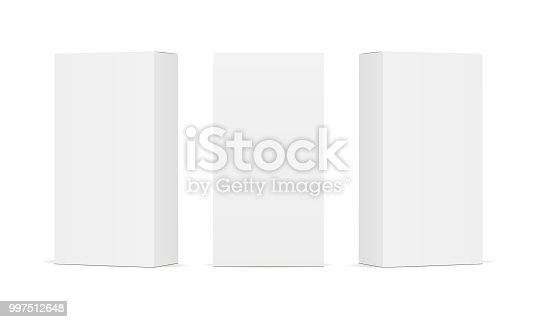 Set of blank white product packaging boxes. Three rectangular templates in different positions for design or branding. Vector illustration