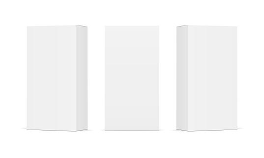 Set Of Blank White Product Packaging Boxes - Stockowe grafiki wektorowe i więcej obrazów Bez ludzi