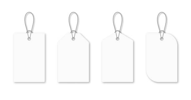 Set of blank white tags with rope. White shopping labels and price tags in different shapes. Mockup and template for paper price tag vector art illustration