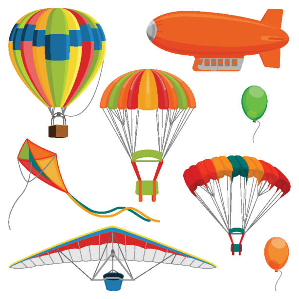 ilustrações de stock, clip art, desenhos animados e ícones de set of blimp, paraglider and kite, air balloon and parachutes realistic vector - parapente