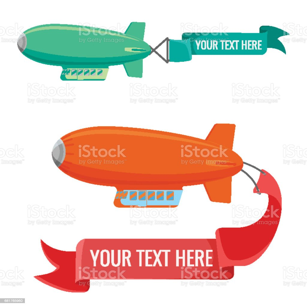 Set of blimps with advertising banners vector illustration isolated on white. vector art illustration