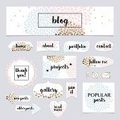 A set of blog design elements kit. Frames, dividers, decorative elements.