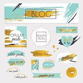 Set of blog design elements kit. Frames, dividers,