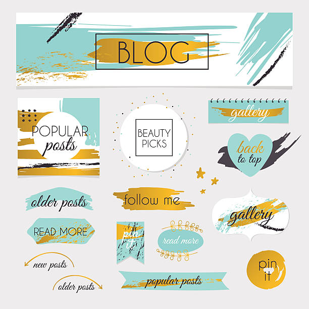 Set of blog design elements kit. Frames, dividers, vector art illustration