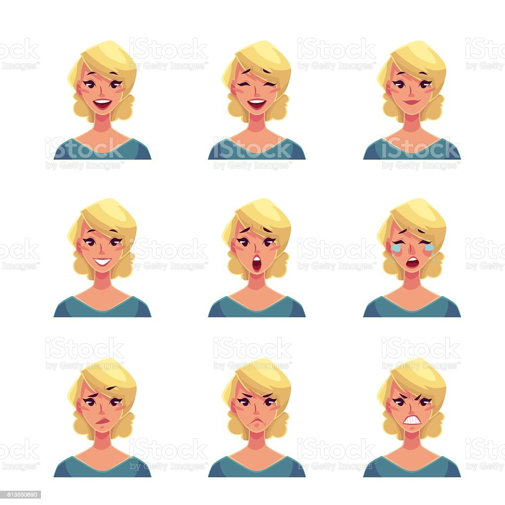 Set of blond woman face expression avatars vector art illustration