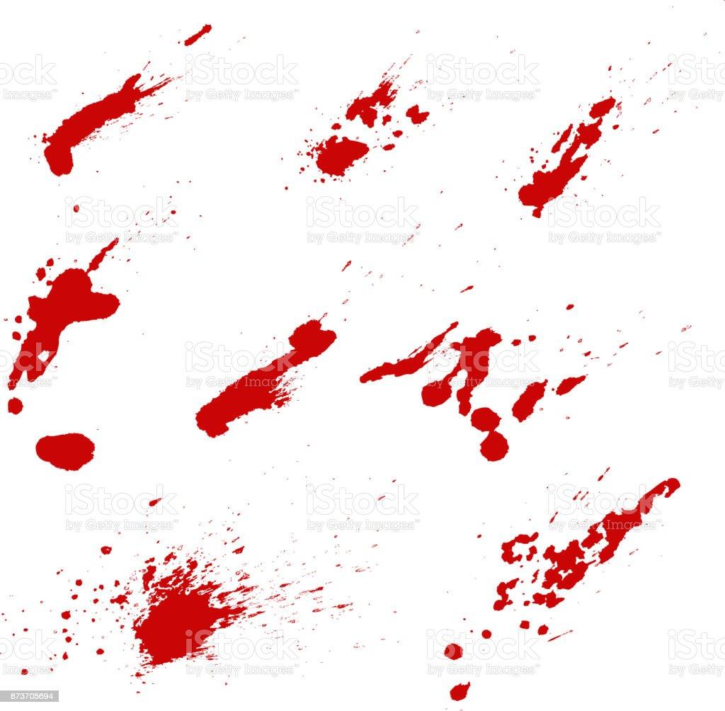 白い背景で隔離の血飛沫のセットですベクター デザインの要素 しぶきの