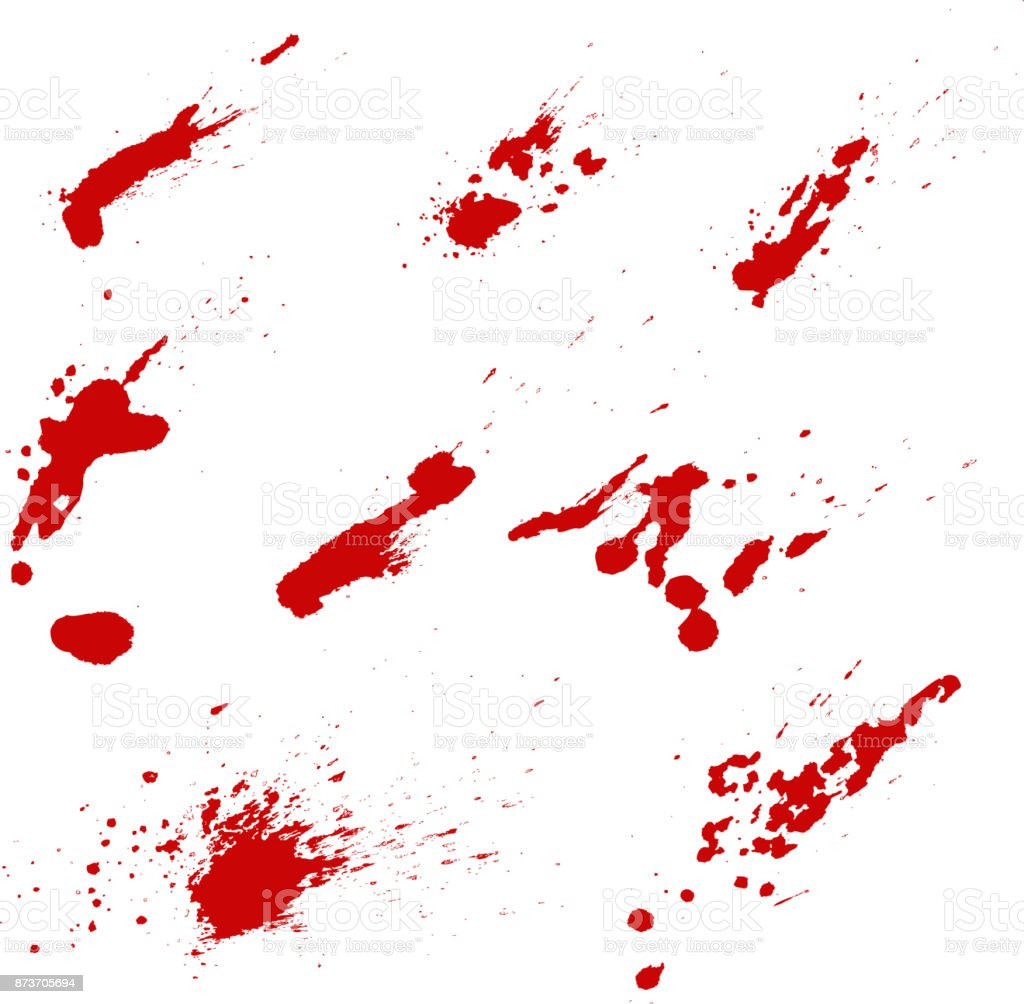 Satz von Blut spritzt isolierten auf weißen Hintergrund. Vektor-Design-element – Vektorgrafik